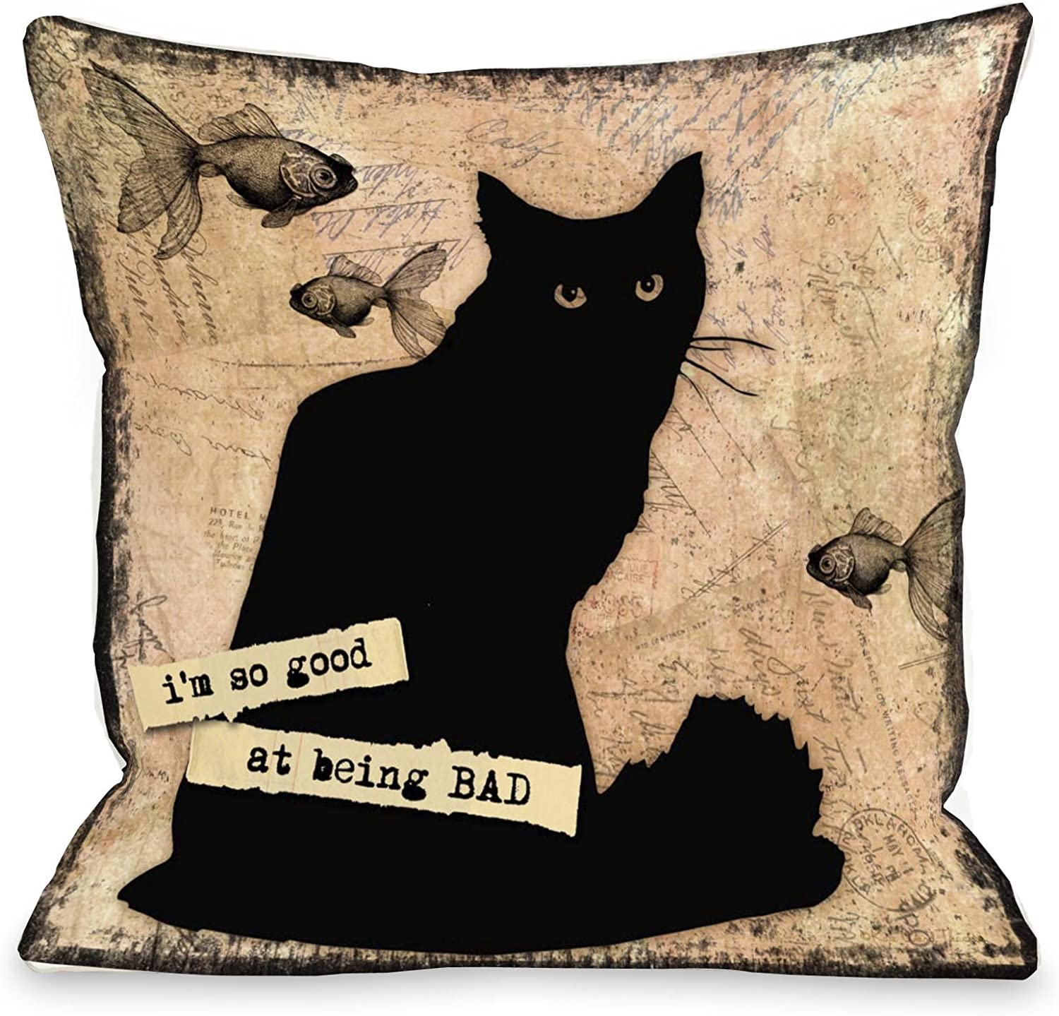 One Bella Casa So Good at Being Bad Throw Pillow, 18 by 18Inch