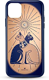 Swarovski Theatrical Collection Phone Case for iPhone 11 Pro Max, Blue and Gold Egyptian Temple Cats Pattern and Integrate...