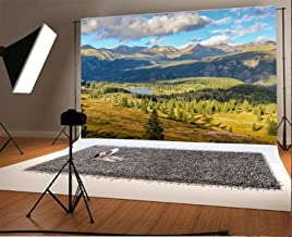 Laeacco 8x6.5FT Vinyl Backdrop Photography Background Colorado Mountain Lake Trees Nature Scenery Clouds Blue Sky Outdoor Realistic Photographic Shoot Background Photo Portraits Studio Props