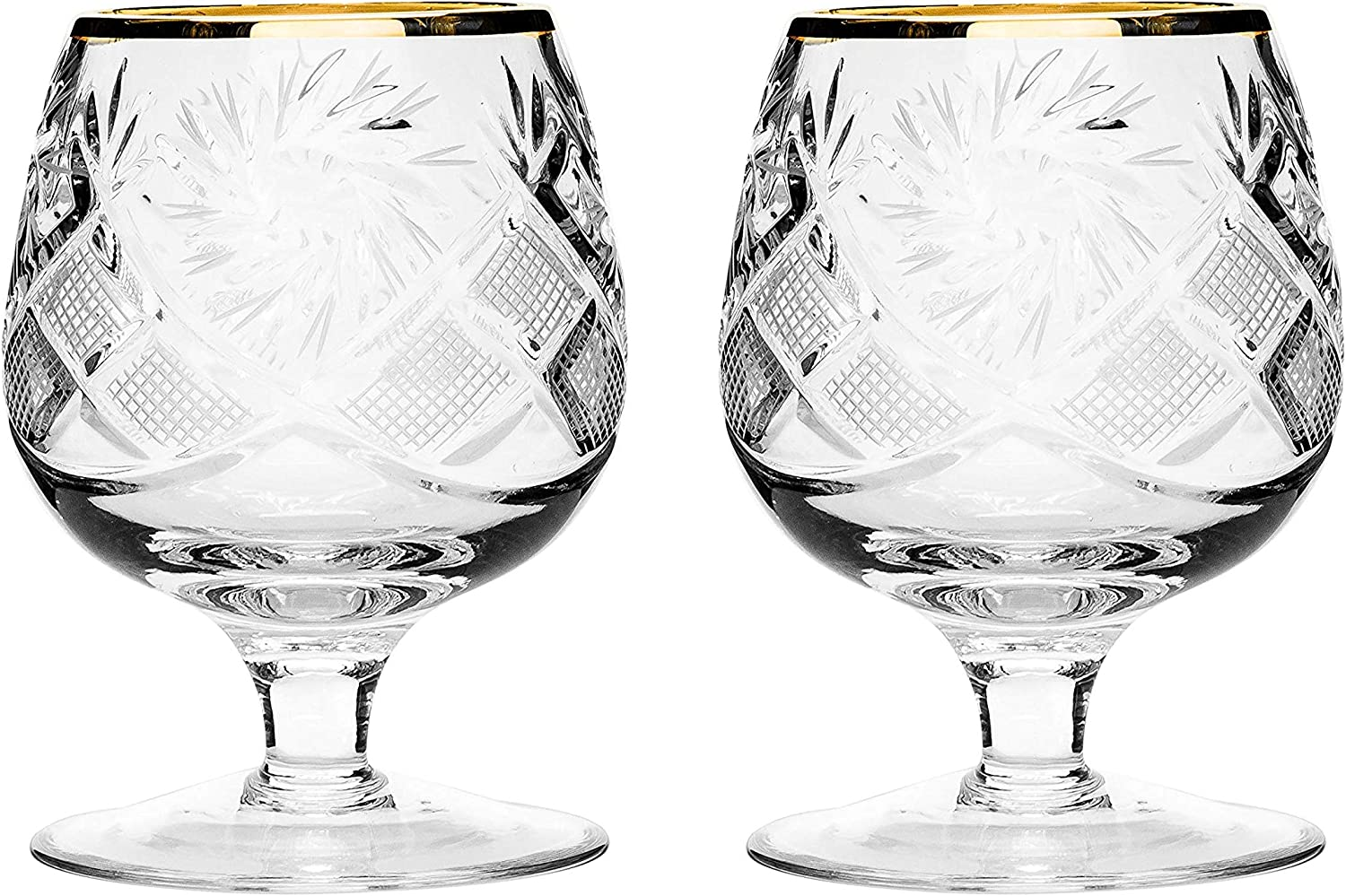 Set of 2 Hand Max 47% OFF Made Vintage High quality new Crystal Brandy Glasses Cognac Snif