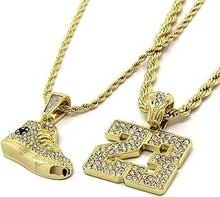 Mens Gold Plated Hip-Hop #23 Retro Shoe Pendant 24