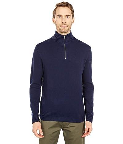 J.Crew Rugged Merino Wool Half-Zip Sweater (Navy) Men