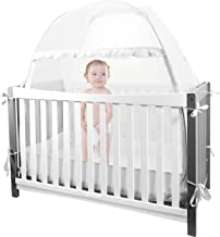 Baby Crib Tent Safety Crib Canopy Cover Pop up Mosquito Net for Kids | Nursery Mesh Crib Net Protects Against Mosquito Bites | Falling Protection|Soft Light Mesh | for Infants & Toddlers (White)