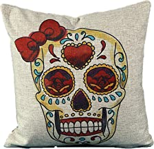 L&J ART 18'' Vintage Colourful Mexican Day of the Dead Bow Sugar Skull Linen Throw Pillow Case Cushion Cover NK7