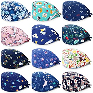 SATINIOR 12 Pieces Unisex Bouffant Caps with Buttons Colorful Printed Tie Back Caps with Sweatband for Women Men