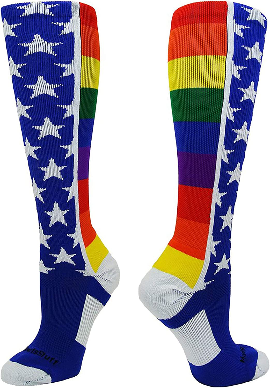 MadSportsStuff Rainbow Pride Over The Calf Socks : Sports & Outdoors