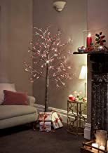 JayMark Snowy Effect Brown Christmas Pre Lit Twig Tree 6ft with Berries for Indoor and Outdoor Use