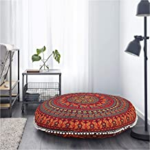 Large Round Pillow Cover Decorative Mandala Pillow Sham Camel and Peacock Designs Indian Bohemian Ottoman Pouffes Cover Po...