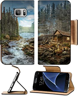Luxlady Premium Samsung Galaxy S7 Flip Pu Leather Wallet Case IMAGE ID: 44946294 Forester s Cabin by the river in the forest illustration of a fictional situation in the form