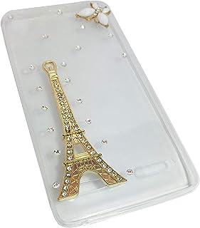 غطاء جوال لينوفو كي3 ايه 6000، شفاف مزين بالفصوص شكل برج ايفل