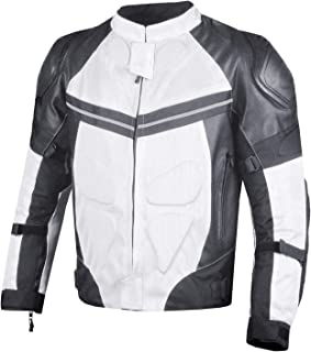 PRO LEATHER & MESH MOTORCYCLE WATERPROOF JACKET WHITE WITH EXTERNAL ARMOR L