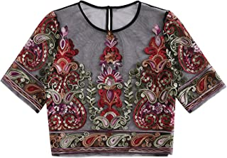 MAKEMECHIC Women's Rose Embroidered Applique Sheer Mesh Blouse Top