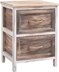 IDIMEX Table de Chevet BELLANO Petite Commode de Nuit avec 2 tiroirs, en Bois de Paulownia Blanc et Brun Style Shabby Chic Vintage Rustique Campagne