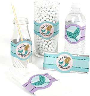 Let's Be Mermaids - DIY Party Supplies - Baby Shower or Birthday Party DIY Wrapper Favors & Decorations - Set of 15