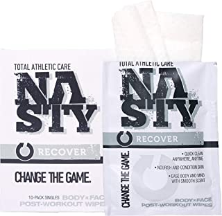 NASTY Body Cleansing Wipes for No Rinse Bath, Shower, After Workout - Best for Men, Women & Teens (10 Individually Wrapped)