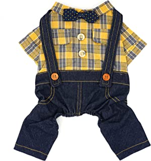 HOODDEAL Dog Plaid Shirt Cozy Denim Overalls Jeans Jumpsuit with Bowtie Cute Puppy Christmas...