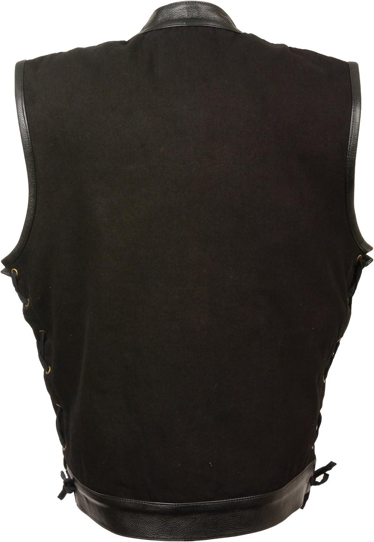 Mens Denim Hidden Zipper Side Lace Vest with Leather Trim, Black Size 3XL