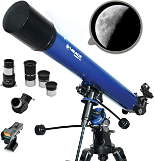 Meade Instruments Polaris 90EQ Refractor Telescope, Metallic Blue