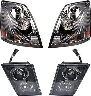 Headlight Headlamp Fog Lamp Black Bezel Aero Lens Kit Set of 4 for Volvo VNL (TR001-L TR001-R, TR002-L, TR002-R)