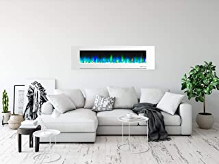 Cambridge CAM72WMEF-1WHT 72 In. Wall-Mount Electric Fireplace in White with Multi-Color Flames and Crystal Rock Display
