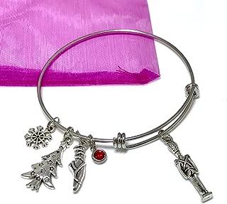 Nutcracker Charm Bracelet Ballet Slipper Christmas Tree Snowflake Stainless Steel Expandable Bangle