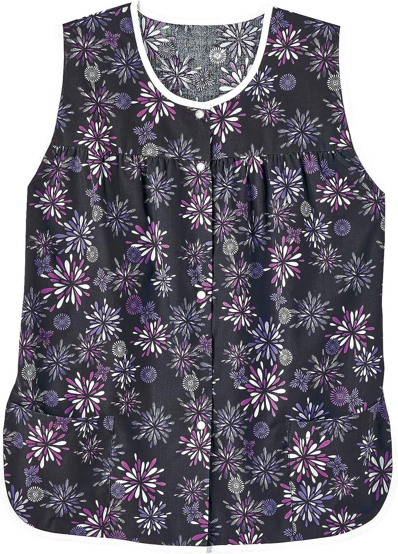 AmeriMark Patterned Women's Snap Front Cobbler Apron Vest with Two Patch Pockets Black/Purple 1X