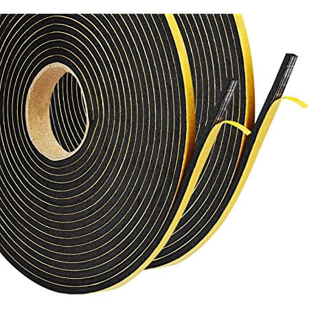 Foam Tape Self Adhesive Weatherstrip for Door Seal and Window 2 Rolls,1//3T,3//4W,14ft per roll Insulation Single Sided Seal Strips Rubber Tape