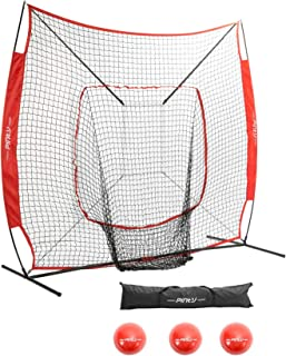Pinty Baseball and Softball Practice Net 7×7ft Portable Hitting Batting Training Net with Strike Zone Target, Weighted Training Balls and Carry Bag