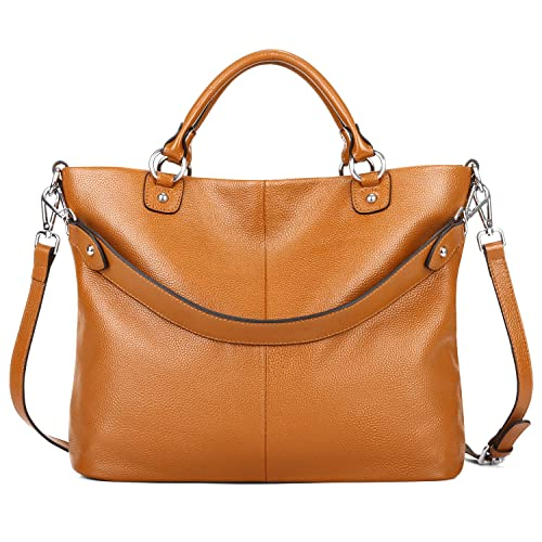 466303c27866 Kattee Women s Soft Leather 3-Way Satchel Tote Handbag