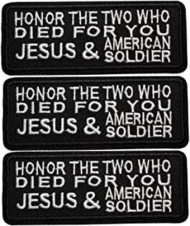 U-Sky Cool Iron on Word Patches for Jean Jackets, 3pcs Honor The Two Died for You Jesus and American Soldier Iron-on Slogan Letter Patch for Vest, Sew on Appliques for Backpacks, Size: 3.93x1.57 inch