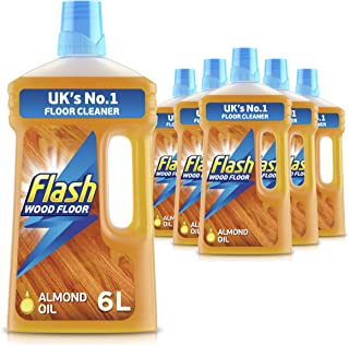 FLASH Wood Floor Cleaner with Almond Oil, Mandarin & Cedarwood, 6 Litres (1 Litre x 6)