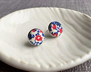 Handmade in Canada - Floral Fabric Studs - Surgical Stainless Steel Earrings - Hypoallergenic Button Studs - Sensitive Ear...