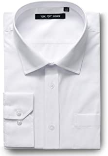 Verno Men's Dress Shirts Regular Fit Long Sleeve Solid Formal Business shirt- Available in More Colors