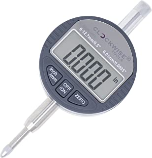 Clockwise Tools DIGR-0055 Electronic Digital Dial Indicator Gage Gauge Inch/Metric Conversion 0-0.5 Inch/12.7 mm with Back Lug Auto Off Featured Measuring Tool