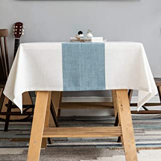 Zerohub Tablecloth, Square Wrinkle-Free Dust-Proof Spill-Proof Polyester Linen Table Cover for Kitchen Dining Tabletop Dec...