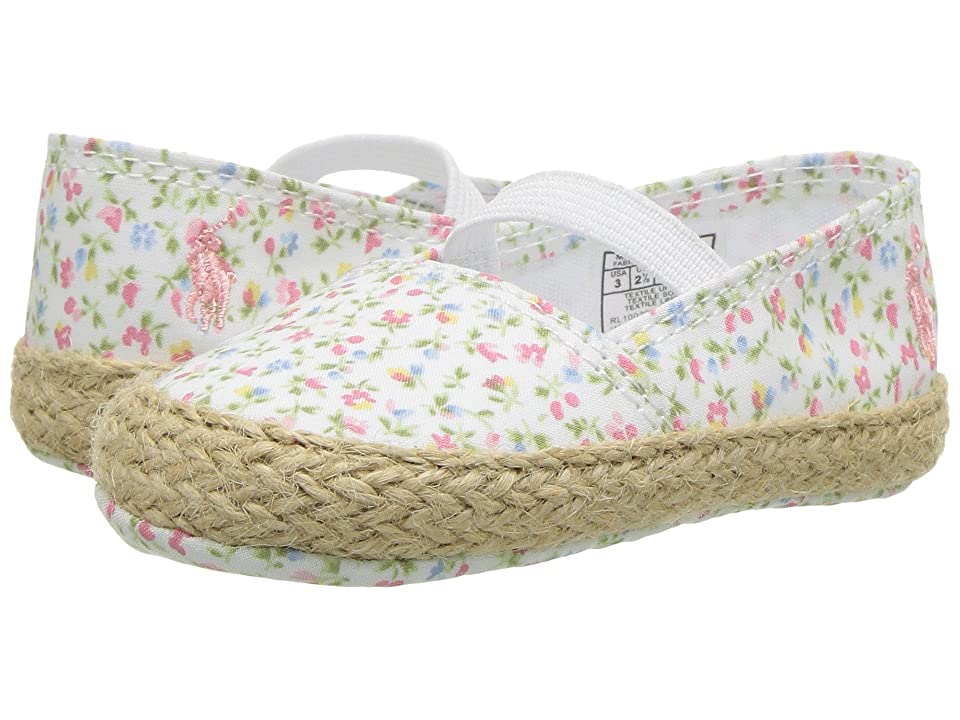 Polo Ralph Lauren Kids Bowman (Infant/Toddler) (Paper White/Pink Micro Floral Canvas/Light Pink) Girls Shoes