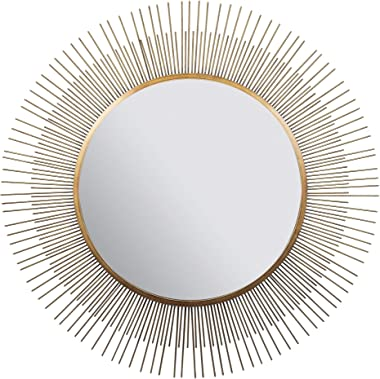 "Everly Hart Collection 36"" Gold Sunburst Wall Mounted Mirror"