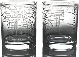 Greenline Goods Whiskey Glasses - 10 Oz Tumbler Gift Set for Los Angeles lovers, Etched with Los Angeles Map | Old Fashion...