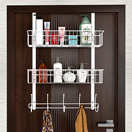 Color : White CMHC Over The Door 5 Hooks Home Bathroom Organizer Rack Clothes Coat Hat Towel Hanger Housekeeping Organizers Hooks Up