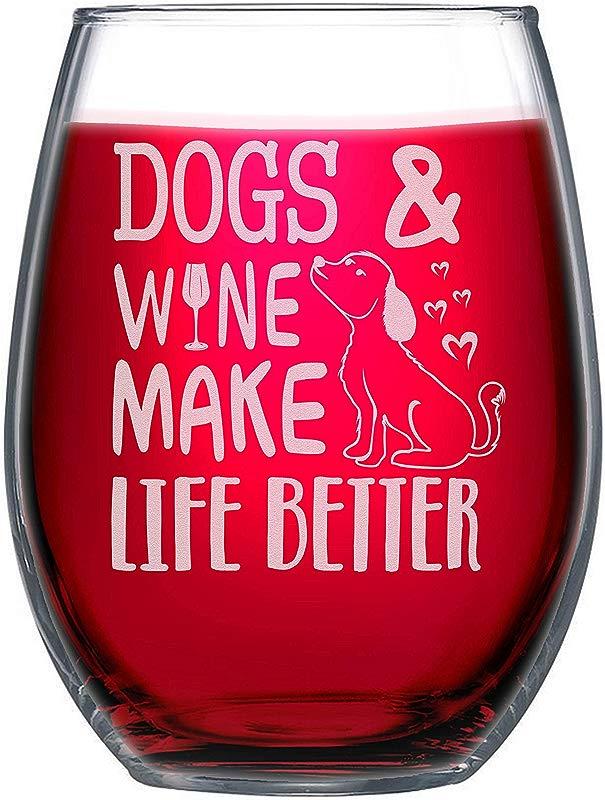 NeeNoNex Dogs Wine Make Life Better Stemless Wine Glass Dog Lover Gift
