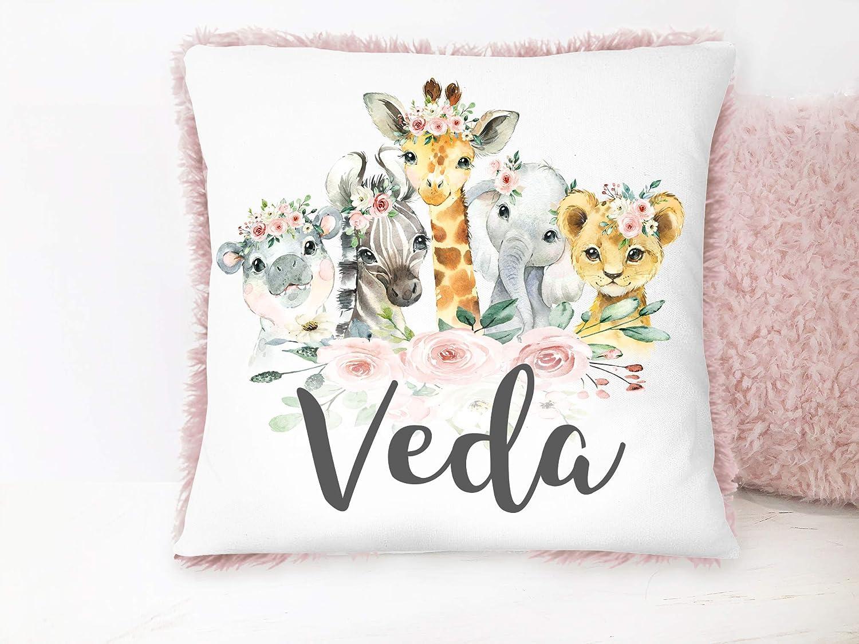Safari Animals Baby Girl Max 45% OFF Custom Nursery Regular discount Decorative Pillow