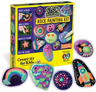 Creativity for Kids Glow in The Dark Rock Painting Kit - Paint 10 Rocks with Water Resistant Glow Paint, Multicolor