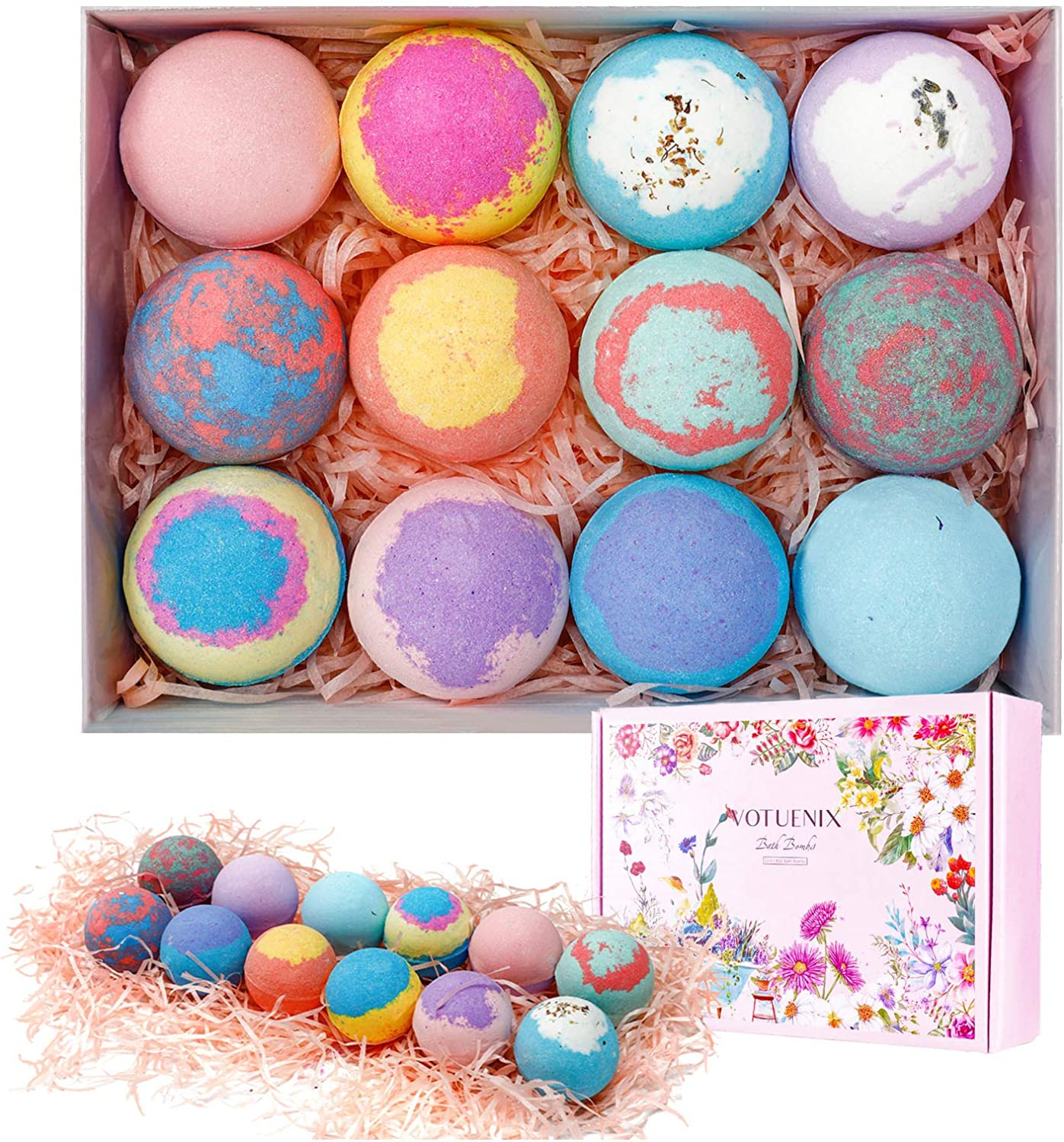 VOTUENIX Bath Bombs Bath 12 Pcs Bombs Gift Set with Plant Essential Oil and Sea Salt Handmade Bath Bomb for Dry Skin, Perfect Gift for Kids, Women, Mom, Girls, Friends for Mother's Day