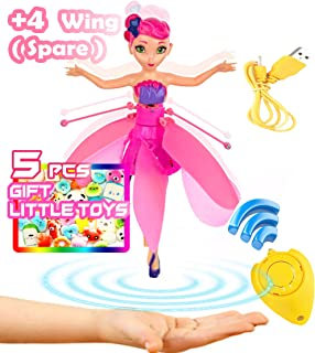 Akargol Magically Flying Fairy Doll Toys for 5 Year Old Girls - Best Gifts for Girl Toys, Age 4 6 7 8 9-14 - Dolls Toys for Girls Outside and Indoor (Little Gift+4 Spare Wings)