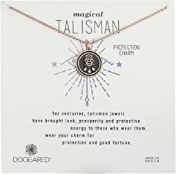 Dogeared - Magical Talisman Protection Charm, Small Hamsa Black Enamel Talisman Necklace