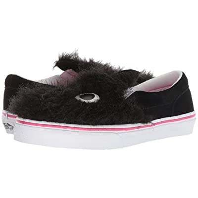 Vans Kids Party Fur Slip-On Friend (Little Kid/Big Kid) ((Party Fur) Black/True White) Girls Shoes