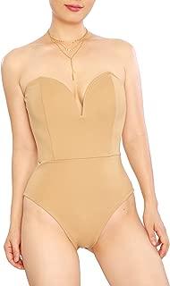 May&Maya Women's Strapless Plunge Neck Bodysuit