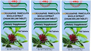 Chuan Xin Lian, Andrographis Whole Extract, Extra Strength 500MG (100 Tablets) - 3 Bottles