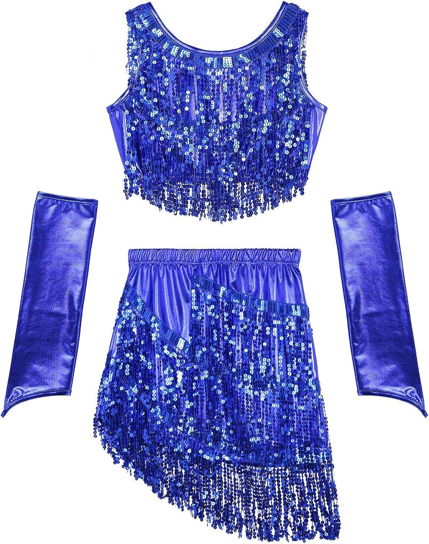 inhzoy Vestido de Baile Latino Lentejuelas para Mujer Vestido de Rumba Salsa Flecos Top con Falda Traje de Samba Baile de Sal/ón Disfraz de Bailarina