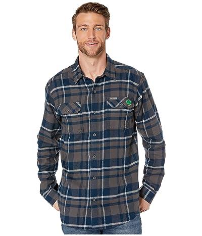 Columbia College Notre Dame Fighting Irish Collegiate Flare Guntm Flannel Long Sleeve Shirt (Collegiate Navy Plaid) Men